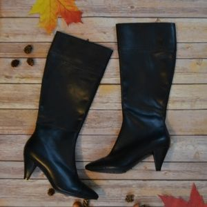 Arturo Chiang Black Tall Leather Calf Boots Size 7